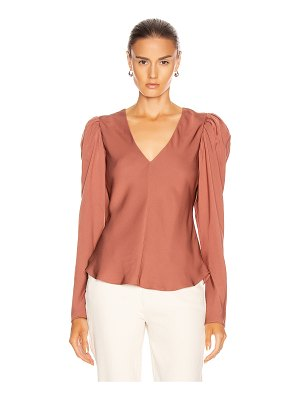 FRAME shirred v neck top
