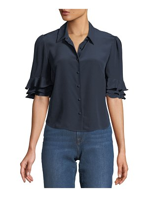 FRAME Silk Flutter-Sleeve Button-Front Top