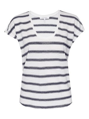 FRAME stripe scoop neck linen t-shirt