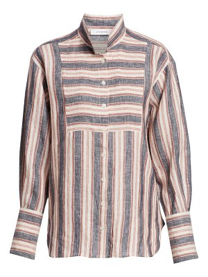 FRAME striped bib linen button-down shirt