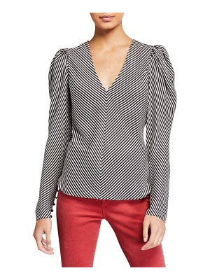 FRAME Striped Silk Shirred V-Neck Top