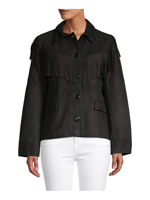 FRAME Denim Suede Fringe Jacket