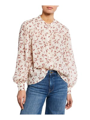 FRAME Voluminous Printed Button-Front Top