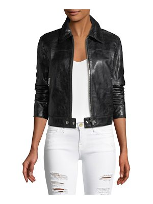 FRAME Zip-Front Lamb Leather Jacket
