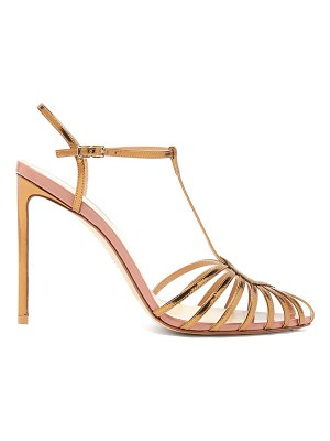 Francesco Russo caged t-bar metallic-leather sandals
