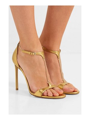 Francesco Russo chain-embellished metallic leather sandals