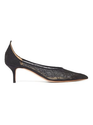 Francesco Russo pointed lace-covered mesh pumps