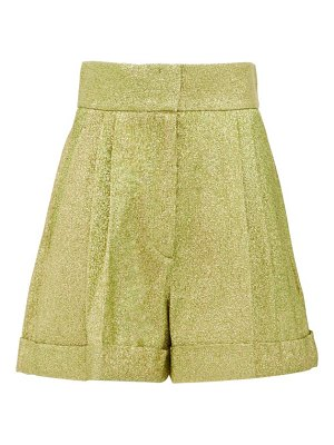 Françoise high-rise pleated metallic shorts