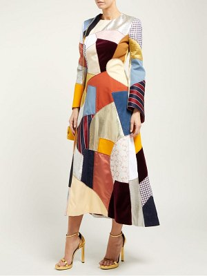 Françoise patchwork trumpet sleeve midi dress