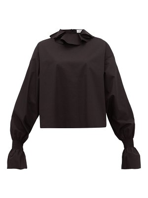 Françoise ruffled neck cotton poplin blouse