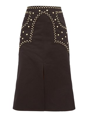 Françoise studded cotton-twill a-line skirt
