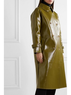 Frankie Shop oversized double-breasted glossed faux textured-leather trench coat