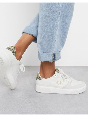 Fred Perry b300 embossed leather sneaker with snake skin print-beige