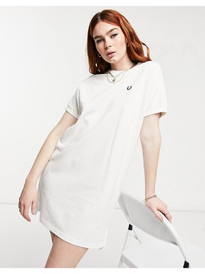 Fred Perry boxy pique tshirt dress in white