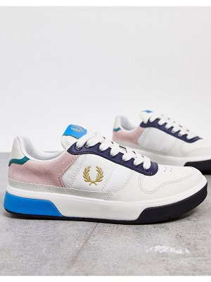 Fred Perry colorblock leather sneakers in white