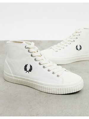 Fred Perry hughes high top canvas sneakers in ecru-beige