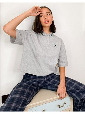 Fred Perry oversized pique shirt in gray-grey
