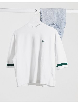 Fred Perry oversized pique shirt in white