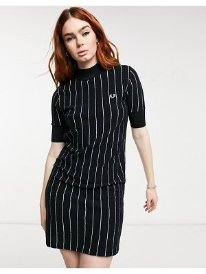 Fred Perry pinstripe knitted dress in black