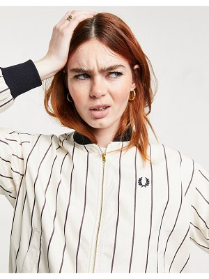 Fred Perry striped batwing bomber jacket in white