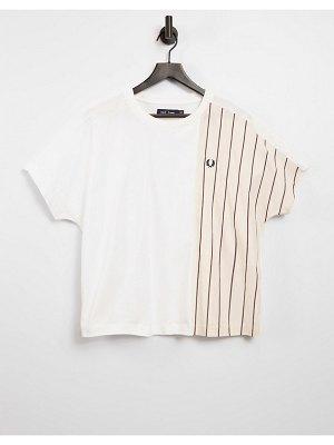 Fred Perry woven panel tshirt in white