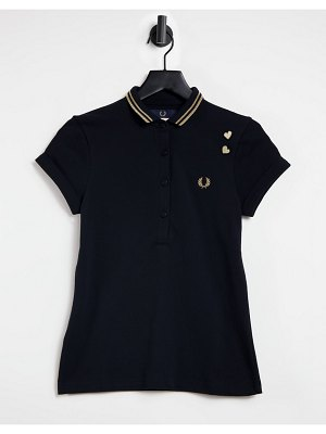 Fred Perry x amy winehouse metallic trim polo shirt in black
