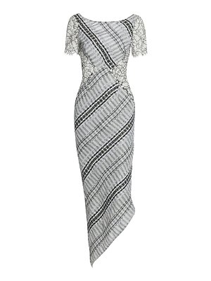 Frederick Anderson lace-trimmed ribbon tweed midi dress