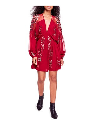 Free People bonjour embroidered illusion lace minidress