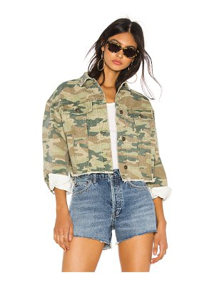 Free People camo printed denim jacket. - size m (also