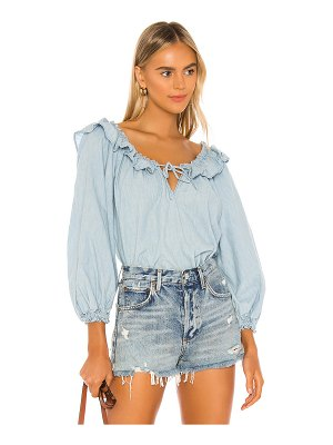 Free People lily of the valley chambray blouse