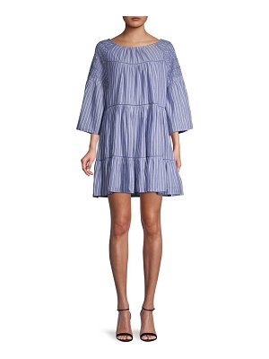 Free People Lola Striped Flounce Mini Dress