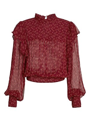 Free People roma floral chiffon smocked puff-sleeve blouse