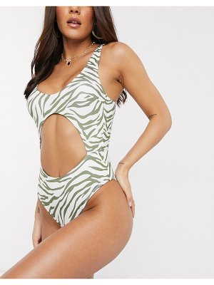 Free Society cut out swimsuit in green zebra-multi