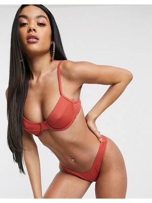 Free Society exclusive eco mix and match underwire bikini top in coral-multi