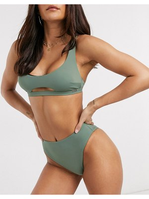 Free Society high leg high waist bikini bottom in khaki-green
