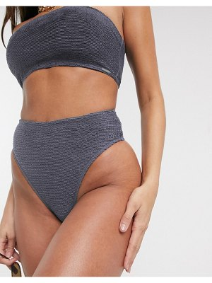 Free Society mix and match scrunch high leg high waist bikini bottom in charcoal-gray
