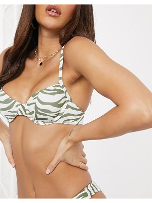 Free Society underwire bikini top in green zebra-multi