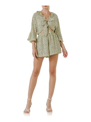 FREE THE ROSES abstract dot ruffle sleeve romper