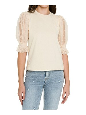 FREE THE ROSES dot mesh sleeve top