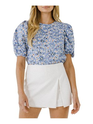 FREE THE ROSES floral puff sleeve cotton blouse