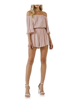 FREE THE ROSES off the shoulder rib knit romper