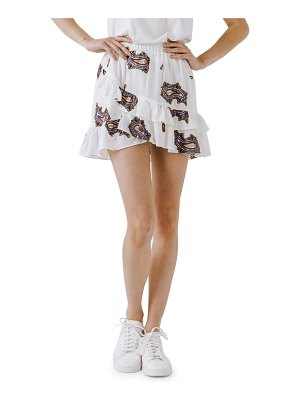 FREE THE ROSES paisley embroidery tiered ruffle cotton miniskirt