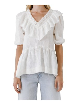 FREE THE ROSES ruffle neck cotton blouse