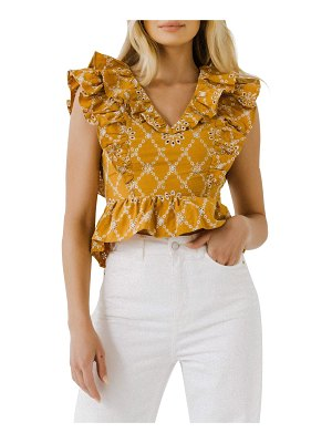 FREE THE ROSES Ruffle-Sleeve Embroidered Crop Top