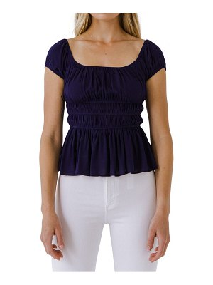 FREE THE ROSES shirred knit peplum top