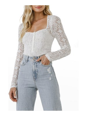 FREE THE ROSES Smocked Long-Sleeve Lace Top