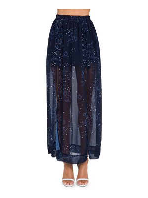 FREE THE ROSES space print maxi skirt