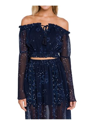 FREE THE ROSES star print off the shoulder crop top