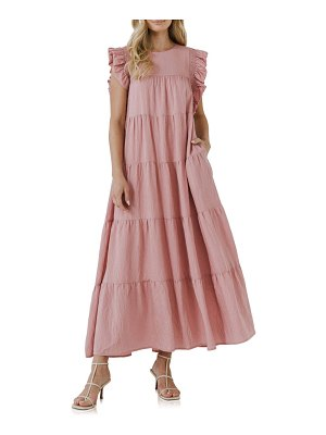 FREE THE ROSES tiered ruffle maxi dress