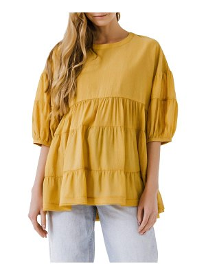 FREE THE ROSES Woven Tiered Round-Neck Blouse